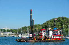 Colorful barge in marina bay Royalty Free Stock Photos
