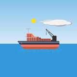 Colorful barge picture. Colorful barge in sea with blue sky and sun. Vector illustration Royalty Free Stock Photos