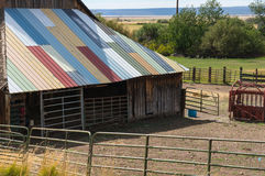 Colorful barn roof stock image