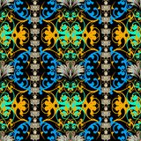 Colorful Baroque vector seamless pattern. Damask ornamental background. Repeat floral backdrop. Luxury line art flowers, scroll stock illustration