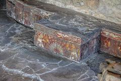 Colorful bas relief carving in stone benches of Aztec Temple Templo Mayor at ruins of Tenochtitlan - Mexico City, Mexico. Colorful bas relief carving in stone Stock Images