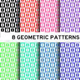 8 Colorful basic square geomertic pattern Stock Image