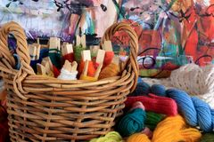 Colorful Basket Of Yarn Stock Images