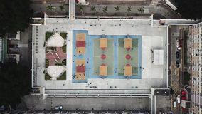 Colorful basketball court in Hong Kong stock footage