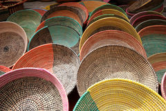 Colorful baskets. Various baskets on a market Royalty Free Stock Photo