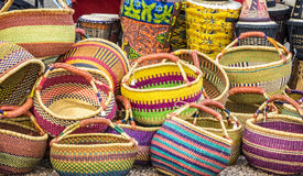Colorful Baskets. For Sale in Outdoor Market in Santa Fe, New Mexico Royalty Free Stock Photography