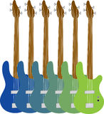 Colorful Bass Guitars Stock Photo
