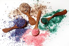 Colorful bath salt scattered Royalty Free Stock Photo