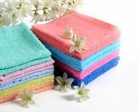 Colorful bath towels Royalty Free Stock Photography