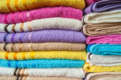 Colorful Bath Towels Stack Background Stock Photos