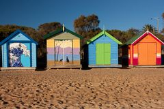 Colorful bathing boxes at the Brighton Beach in Melbourne stock photography