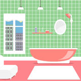 Colorful bathroom background interior design with furniture: bathtub, cupboard, mirror, lamps. Flat style vector illustration. Stock Images
