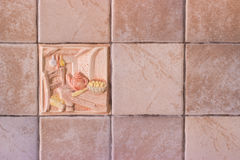 Colorful bathroom and outdoors decorated tiles Stock Photos