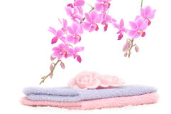 Colorful bathroom set with rose petal shaped soap. A bathroom set with two towels of different color, two rose petal shaped pieces of soap and a decorative pink Stock Photos