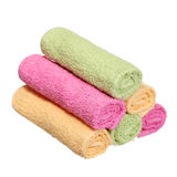 Colorful Bathroom Towels isolated on white Stock Images