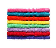 Colorful Bathroom Towels isolated on white Royalty Free Stock Photography