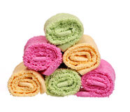 Colorful Bathroom Towels isolated on white Stock Photography