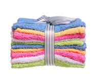 Colorful Bathroom Towels isolated on white Stock Photos