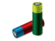 Colorful batteries Royalty Free Stock Images