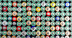 Colorful batteries Royalty Free Stock Photography