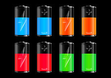 Colorful batteries collection Royalty Free Stock Images