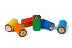 Colorful batteries - renewable energy concept. Colorful batteries, renewable energy concept royalty free stock photography