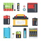 Colorful batteries set. Royalty Free Stock Photography