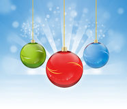 Colorful bauble. Three colorful Christmas balls background Royalty Free Stock Photography