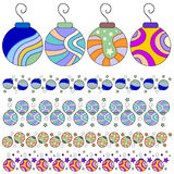 Colorful bauble and trim collection Stock Image