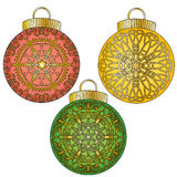 Colorful baubles with ornaments collection Royalty Free Stock Image