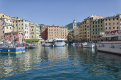The colorful bay of Camogli from the porticciolo entrance Stock Photography