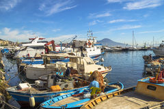 Colorful bay of Naples with fishing boats Stock Image
