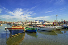 Colorful bay of Naples with fishing boats Royalty Free Stock Photos