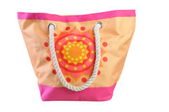 Colorful beach bag, isolated on a white. Background Royalty Free Stock Photo