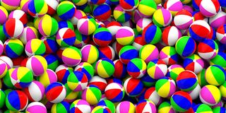 Colorful beach balls background, top view. 3d illustration. Family, kids summer vacation. Colorful beach balls heap background, top view. 3d illustration Royalty Free Stock Photo