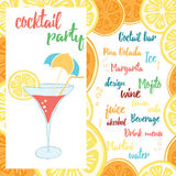 Colorful Beach Bar poster with a cocktail with orange. Summer banner design for cocktail party. Stock Image