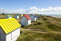 Colorful beach cabins at Gouville-Sur-Mer, Normandy Stock Images
