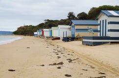 Colorful beach cabins in the Mornington Peninsula in Australia stock photo