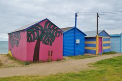 Colorful beach cabins in the Mornington Peninsula in Australia Royalty Free Stock Photography