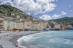 The colorful beach of Camogli in springtime Stock Photo