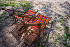 Colorful beach chair on the beach Royalty Free Stock Photo