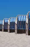 Colorful beach chairs. On the beach of Boltenhagen/Baltic Sea Royalty Free Stock Photos