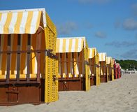 Colorful beach chairs. On the beach of Boltenhagen/Baltic Sea Stock Photo