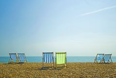Colorful beach chairs  Royalty Free Stock Image