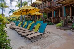 Free Colorful Beach Chairs And Cabanas At Volcano Bay In Universal Studios Area Royalty Free Stock Images - 176256909