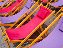 Colorful beach chairs background Stock Photography