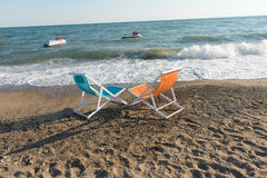 Colorful beach chairs Royalty Free Stock Photography