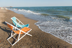 Colorful beach chairs Stock Photography