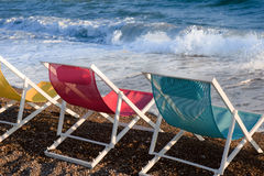 Colorful beach chairs Stock Image