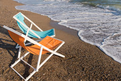 Colorful beach chairs Royalty Free Stock Photos